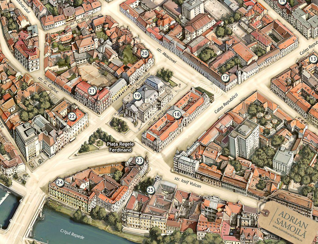 Illustrated Map Of Oradea On Behance Mappery Pinterest - Oradea map