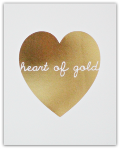 SS Print Shop, GOLD HEART (WHITE) - $35