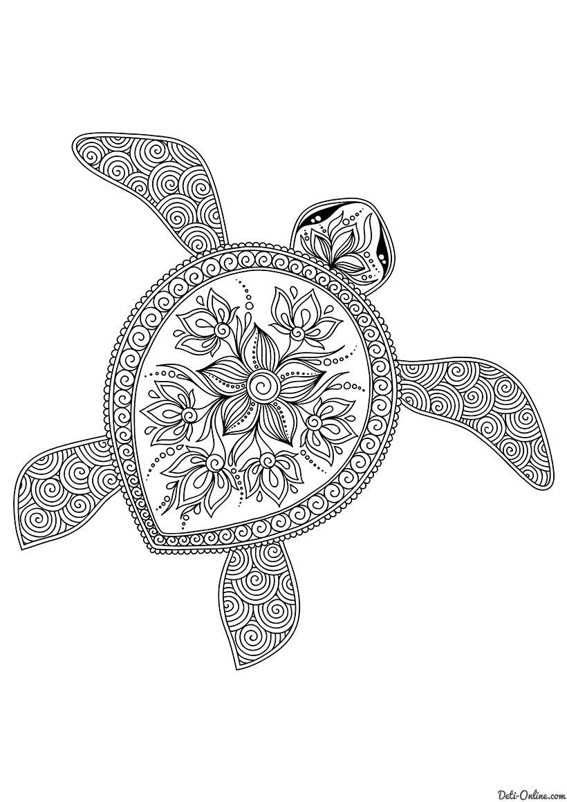 Раскраска Плывущая черепаха распечатать или скачать ...