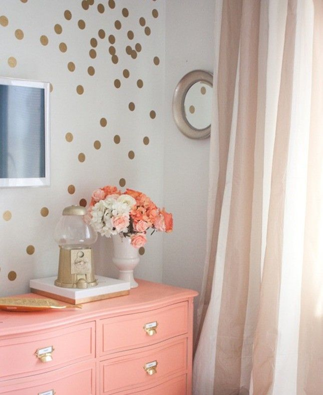 Splash Coral + Gold Onto Your Furniture As A Pop Of Color