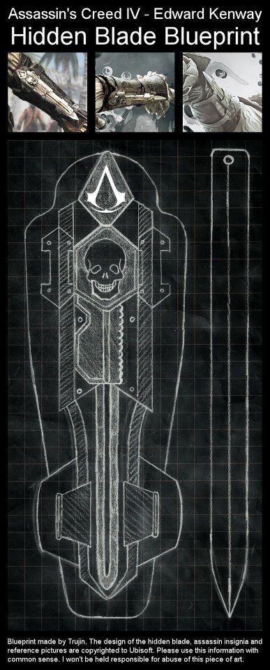 Assassins creed 4 black flag edward kenways hidden blade assassins creed 4 black flag edward kenways hidden blade blueprint malvernweather Image collections