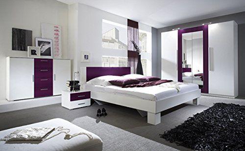 Schlafzimmer komplett 54018 4-teilig weiß   lila culori