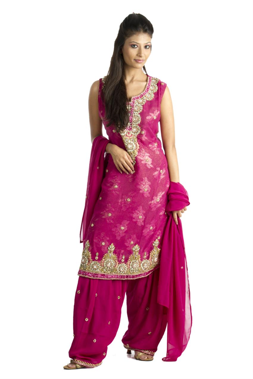 72ae8cd245 Patiala Salwar Dark Pink Floral Motifs Suit | Indian Fashion ...