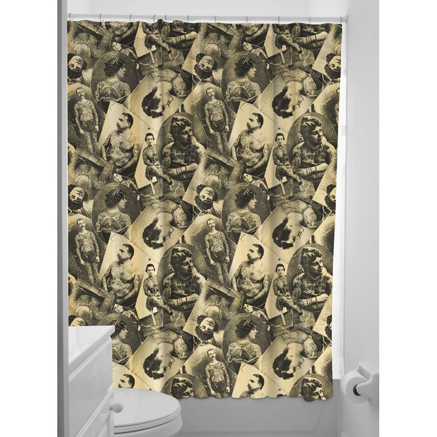 Old Timers Tattoo Shower Curtain Rockabilly Punk Retro Homewares