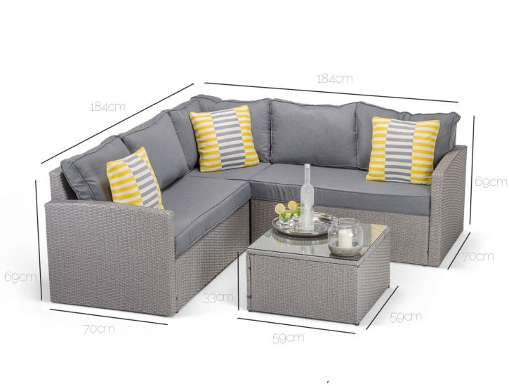 Chesterfield Sofa Dimensions of Calabria corner sofa in grey rattan
