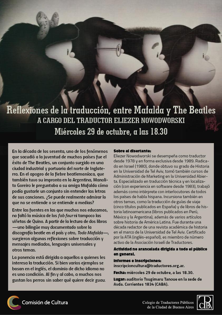Reflexiones de la traducción, entre Mafalda y The Beatles. Actividad a cargo del traductor Eliezer Nowodworski..