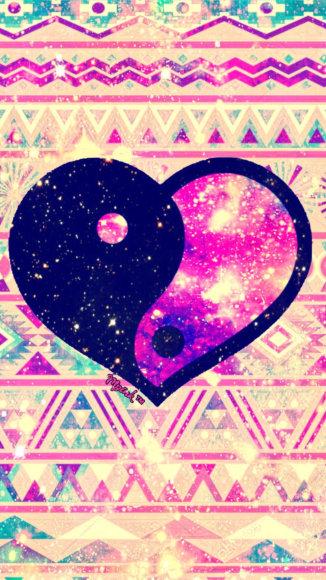 Shimmer Tribal Heart Galaxy Wallpaper androidwallpaper