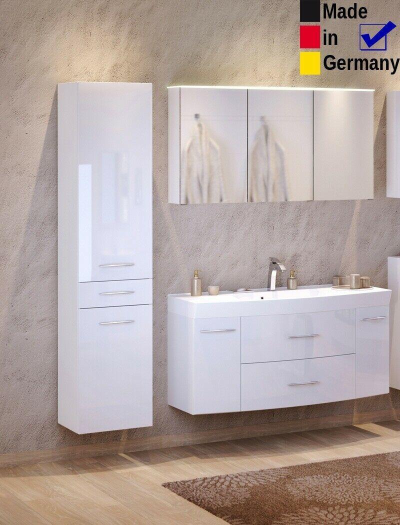 Badezimmer Fiona 35 Hochglanz Weiss 3 Teilig Waschtisch 3d Spiegelschrank Led In 2020 Spiegelschrank Led Spiegelschrank Spiegel Waschtisch