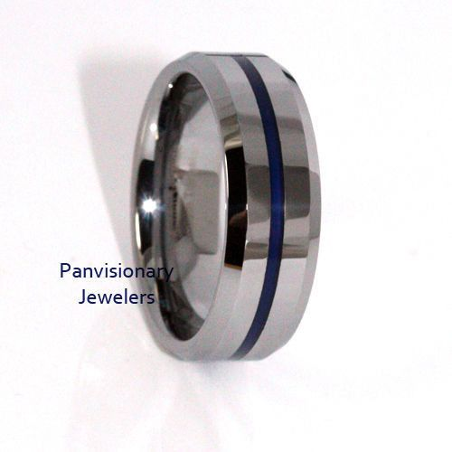 30 Thin Blue Line Tungsten Carbide Ring 8mm Flat Profile With Beveled Edges Red