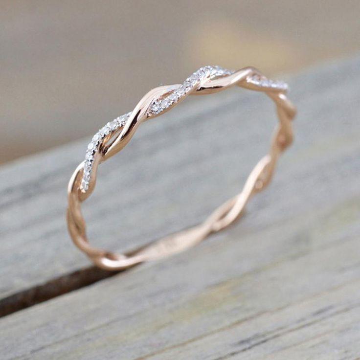 Nette einfache minimalistische Twist Kristall Ring Rose Gold Modeschmuck für Fr…