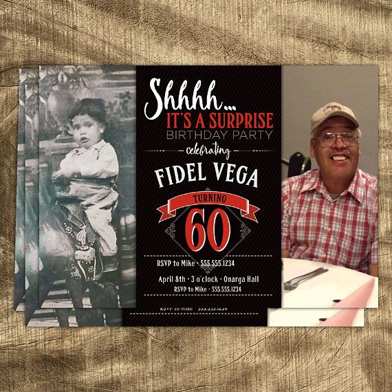 60th Birthday Invitation, Birthday Invitations For Men