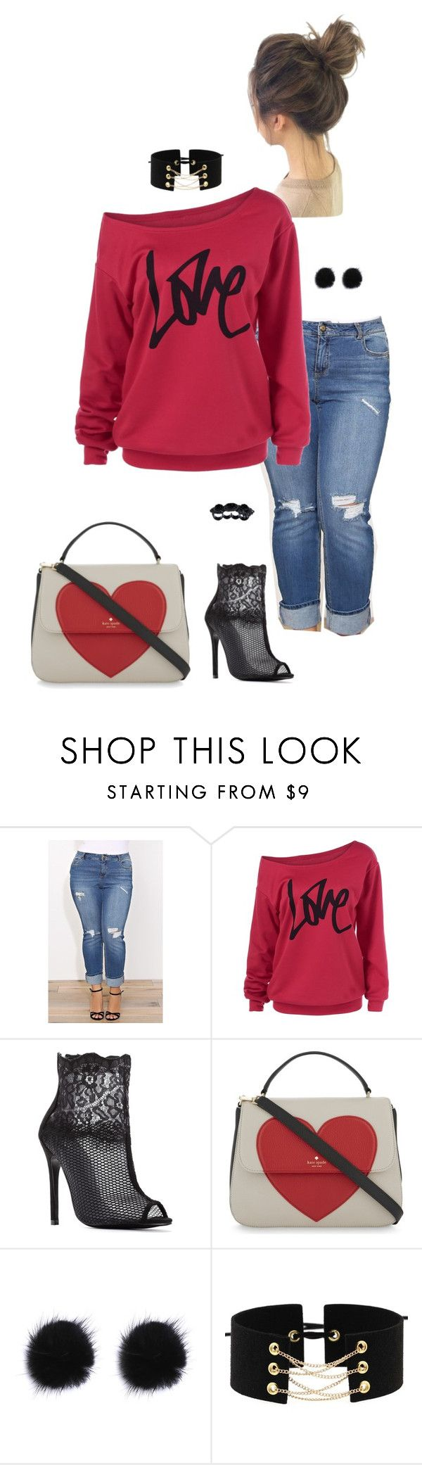 """""""All shook up- plus size"""" by gchamama ❤ liked on Polyvore featuring Kate Spade and Dsquared2"""
