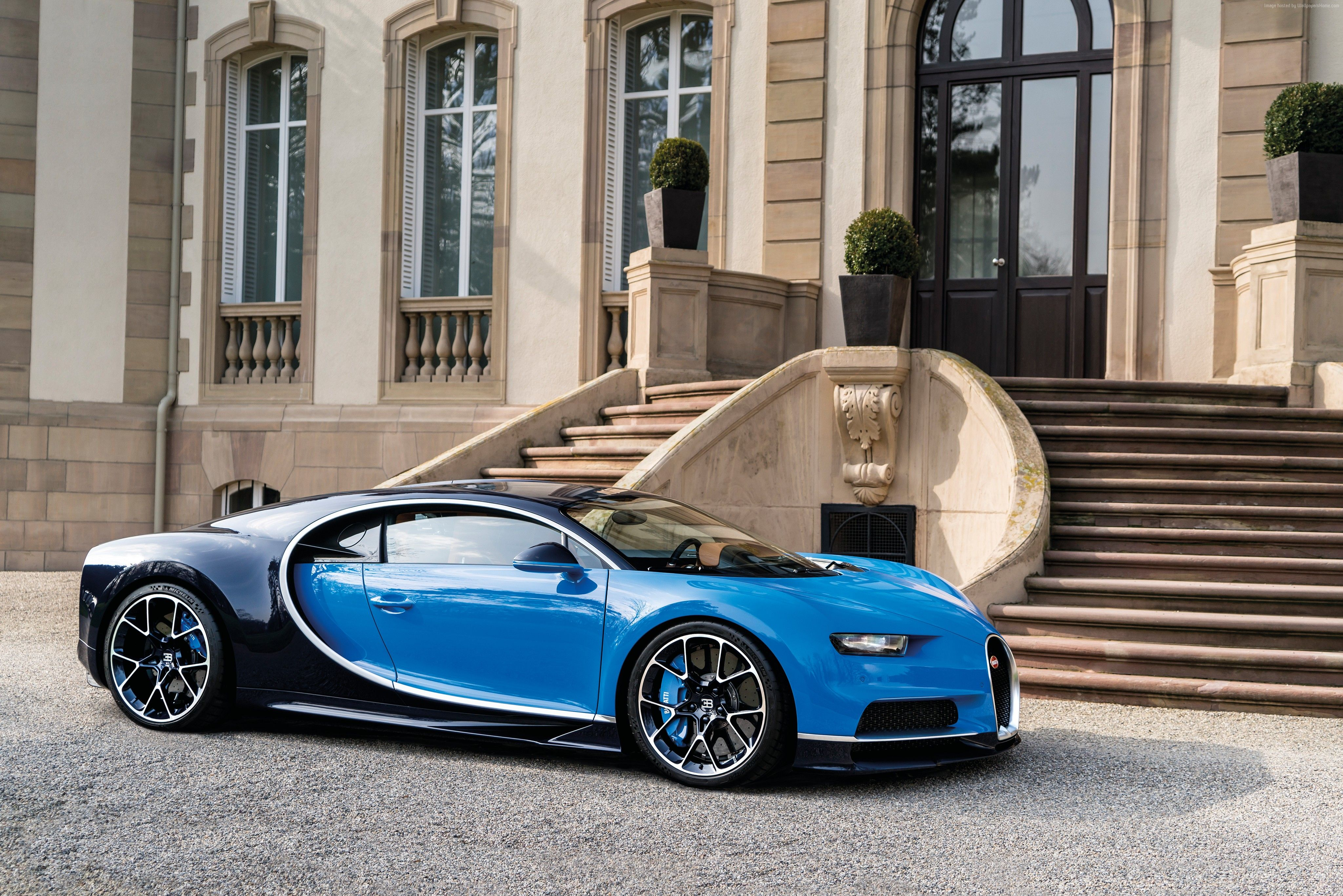 Wallpaper Bugatti Chiron Geneva Auto Show Hypercar Blue