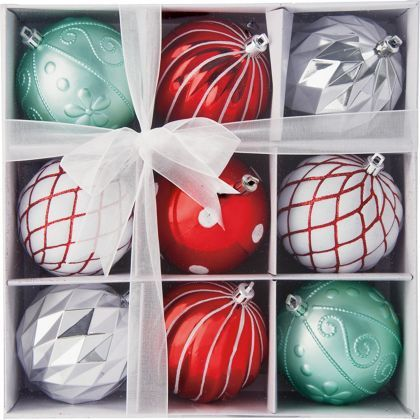 Pack of 9 Red, White & Green Baubles at Homebase -- Be ...