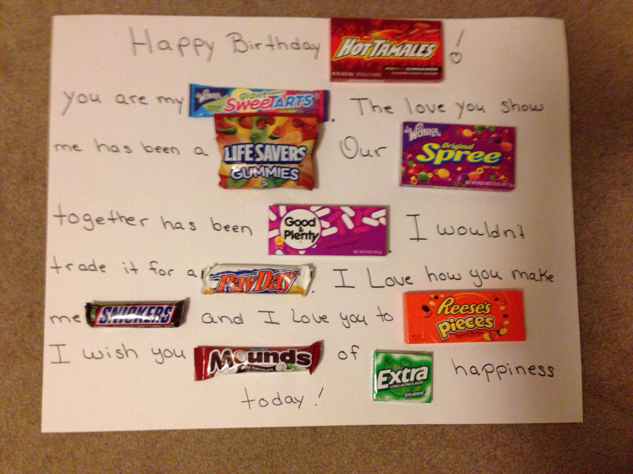 Husband birthday candy sign My better half Pinterest
