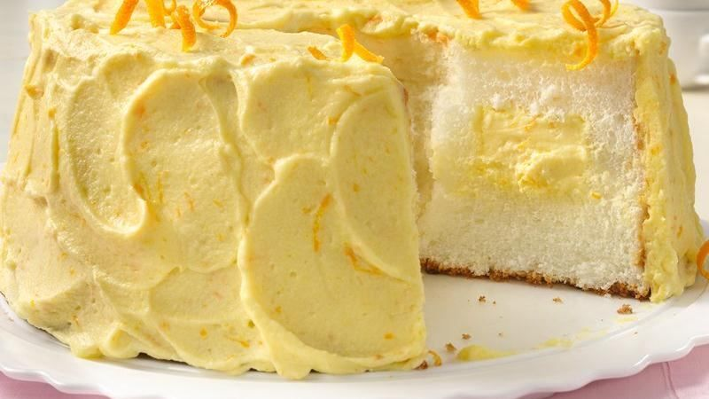 Orange Cream Angel Food Cake Recipe Angel food cakes Food cakes