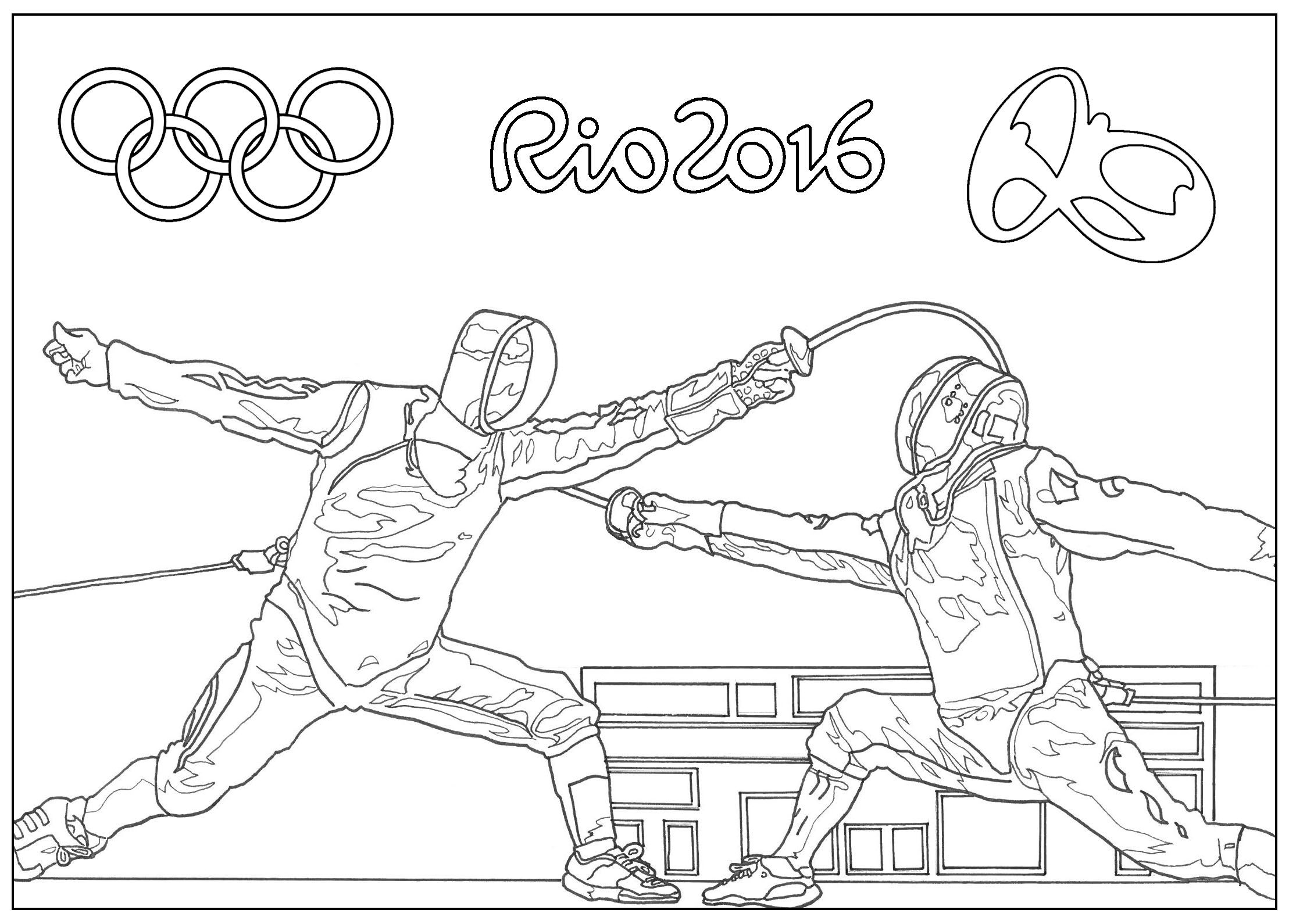 Free Coloring Page Coloring Adult Rio 2016 Olympic Games Fencing