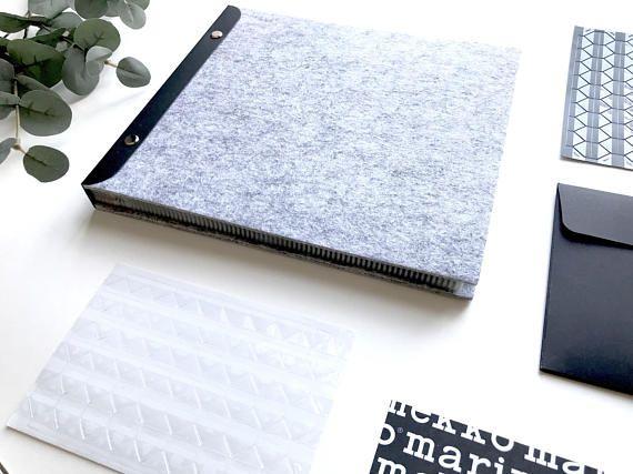 96 X 86 Light Grey Wool Felt Scrapbook Album Black Inner