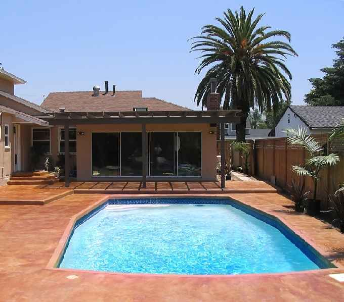 Painted Outdoor Concrete Around Pool | Concrete Pool Deck   Design Advice  Needed   Landscaping U0026