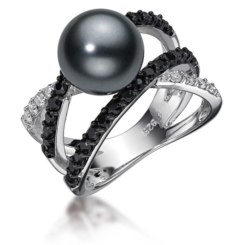 925 sterling silver black pearl and white and black
