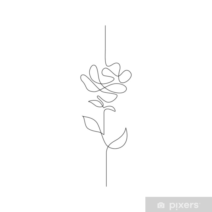 One Line Drawing Continuous Line Flower Hand Drawn Illustration For Logo Emblem And Design Card Poster Vector Sticker Pixers We Live To Change Line Drawing Tattoos Line Flower Flower Drawing