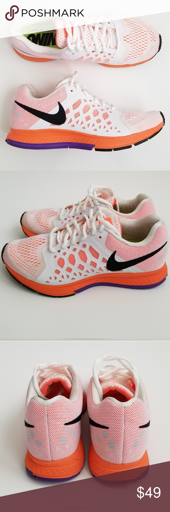 size 40 fe2c5 f91c3 Nike Air Zoom Pegasus 31 Running Shoes Womens Nike Air Zoom Pegasus 31  running shoes, size 6.5. White with orange and purple, white laces. Mesh  upper.