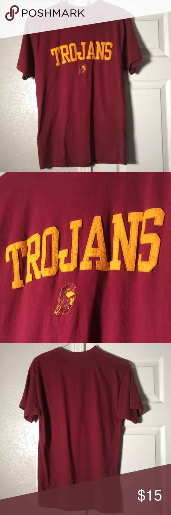 Usc Trojans Stitched Lettering Shirt Usc Trojans Letter Shirts Usc