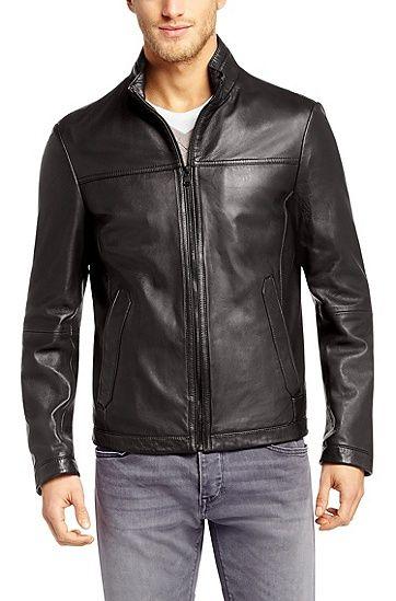 Hugo Boss Leather jacket 'Nilas' in lambskin, Dark Brown