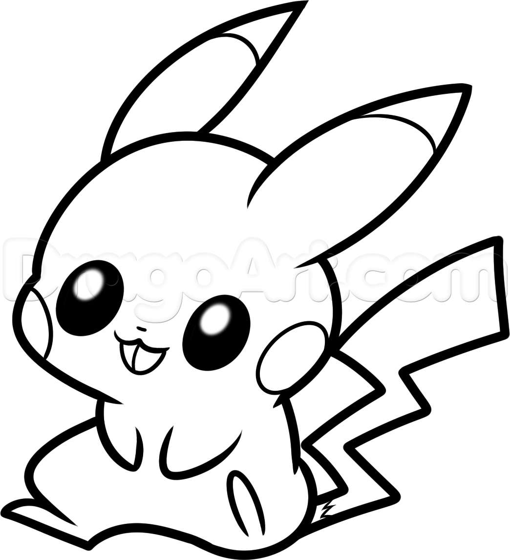 How to Draw Baby Pikachu, Step by Step, Pokemon Characters, Anime