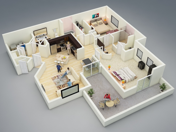25 More 2 Bedroom 3d Floor Plans With Images 3d House Plans 2