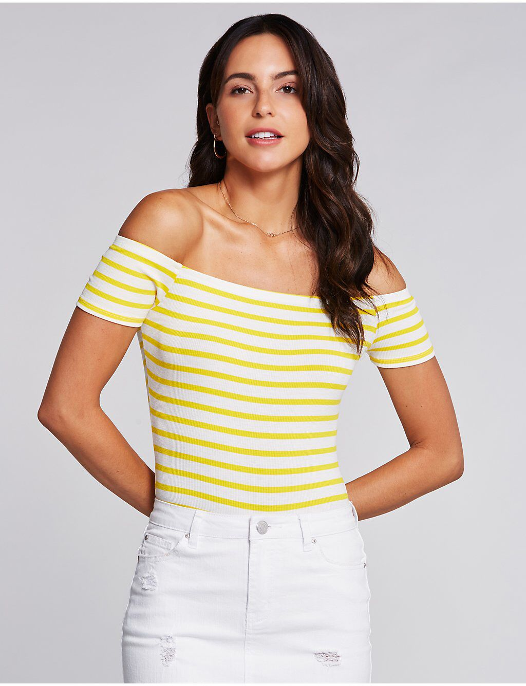 CR   Stripe Off The Shoulder Bodysuit  67029e114
