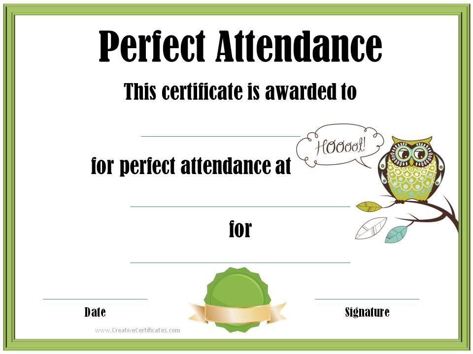 Perfect Attendance Certificate Teacher Pinterest Attendance