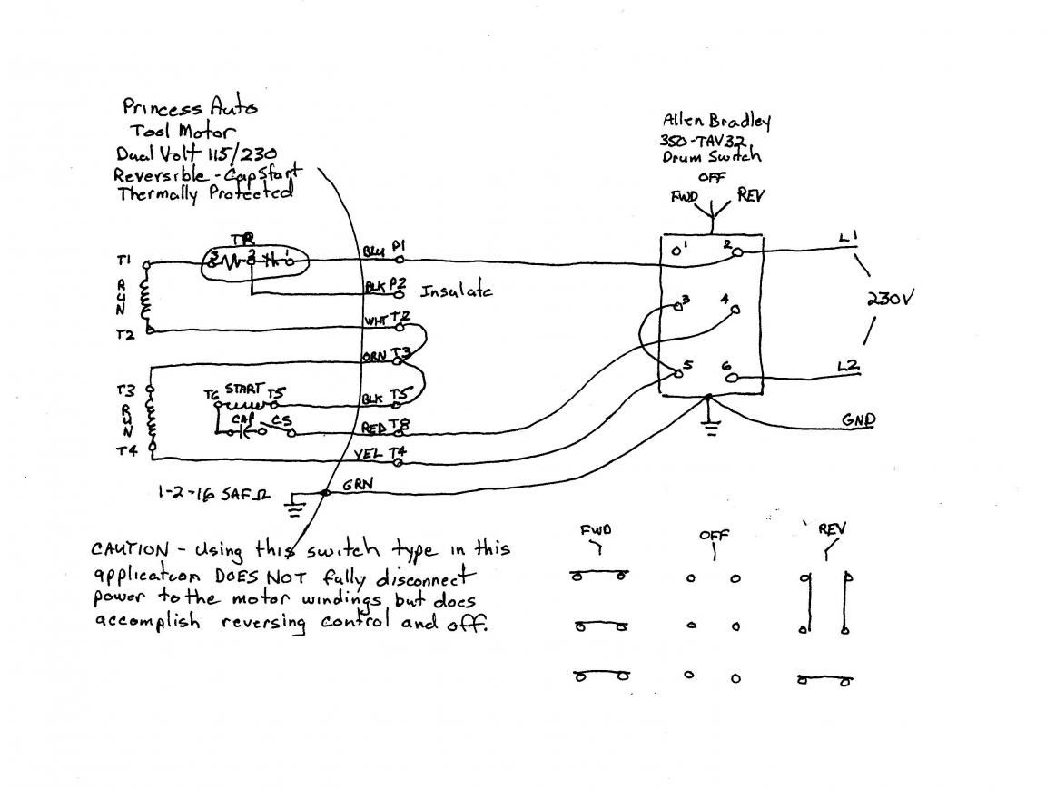 5 lead single phase motor wiring diagram 6 lead single phase help on wiring a drum switch to a single phase 230v motor motorcycle [ 1152 x 869 Pixel ]