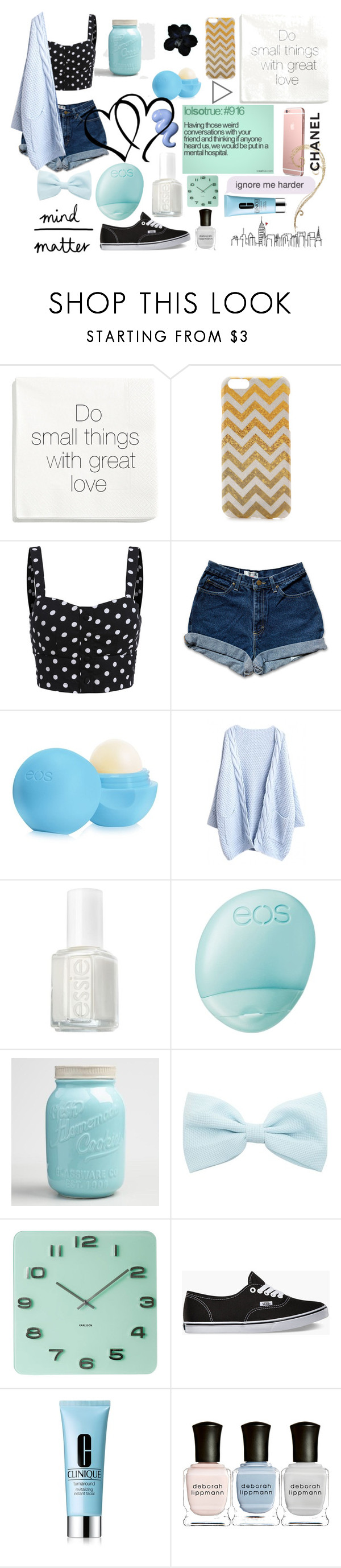 """Untitled #38"" by juststopandbreath ❤ liked on Polyvore featuring H&M, Monika Strigel, Eos, Essie, Cost Plus World Market, Too Late, La Femme, Karlsson, Vans and Clinique"