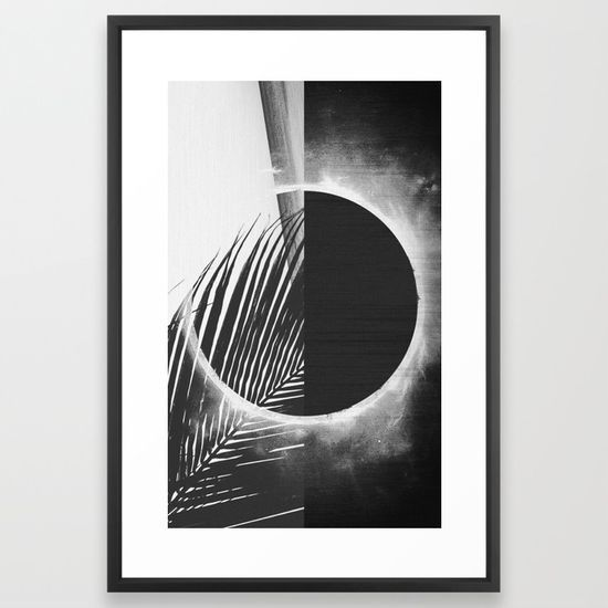 Solar palm three framed art print shop on society6 black and white wall art