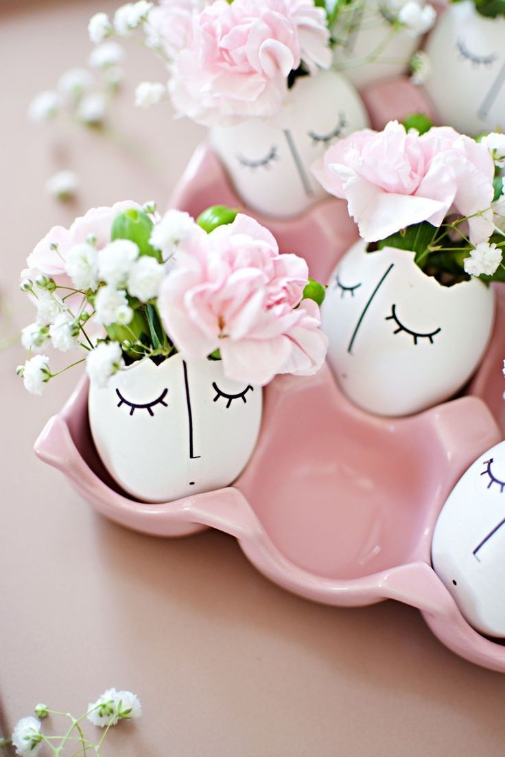 frühlingsdeko-basteln-eierschalen-dekorieren-blumen-vasen #frühlingblumen