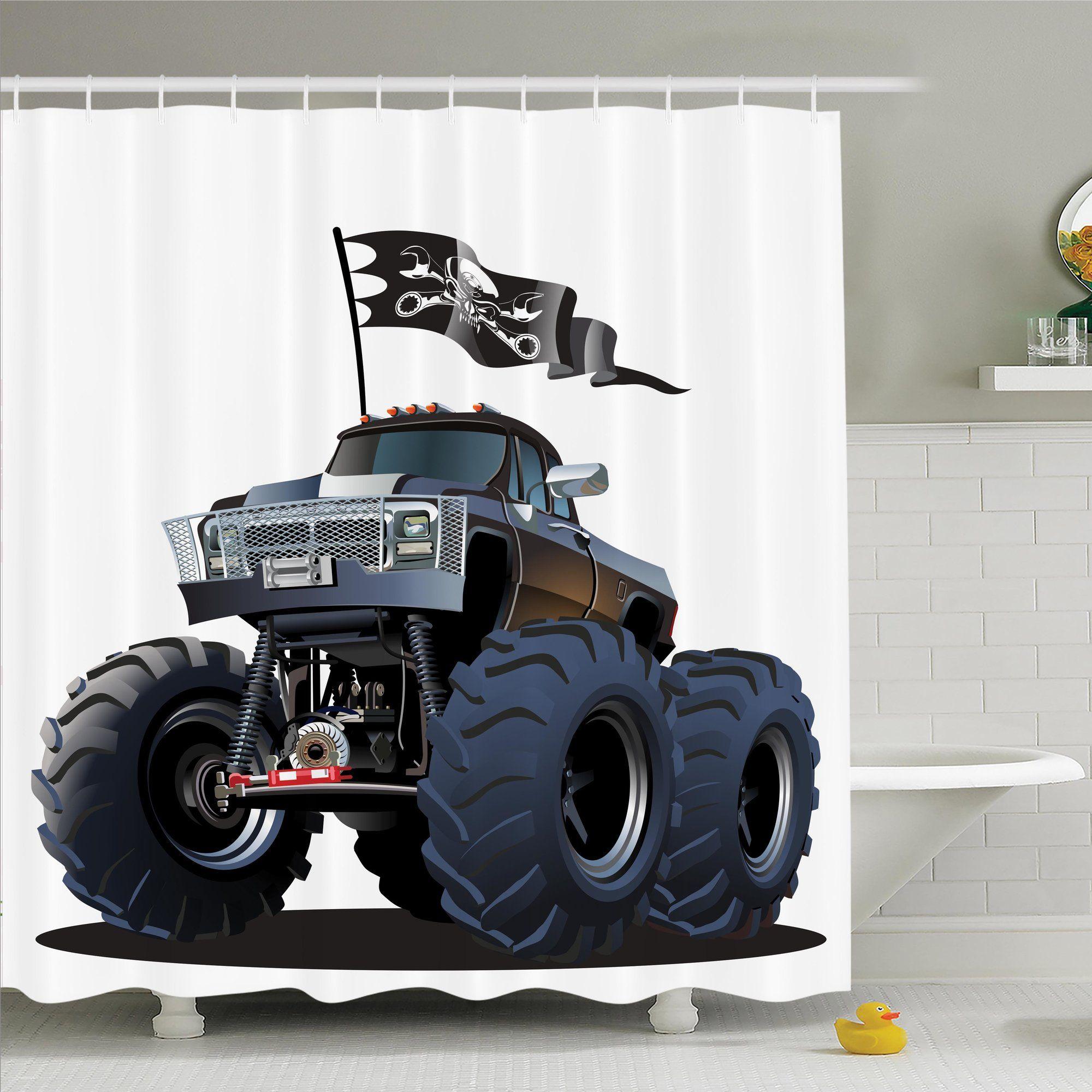Pirate shower curtain - Cartoon Monster Truck Pirate Shower Curtain Set