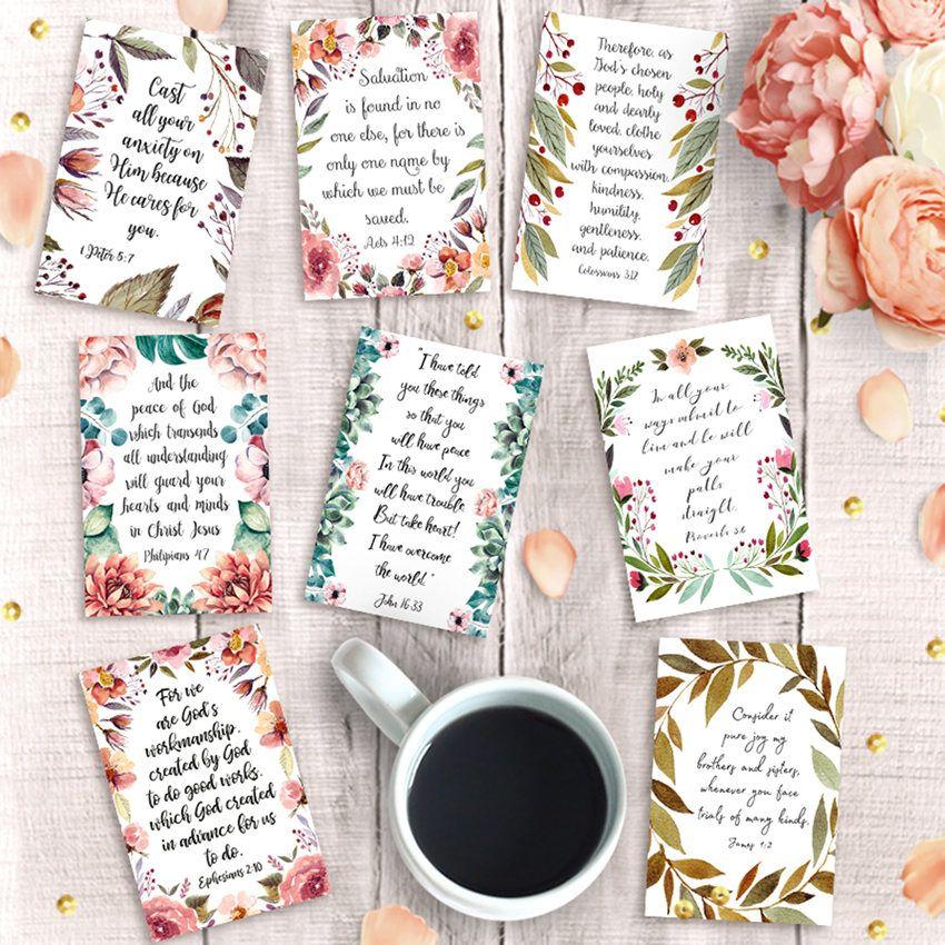 Printable Scripture Cards, Set of 9, Instant Download, 4x6 print