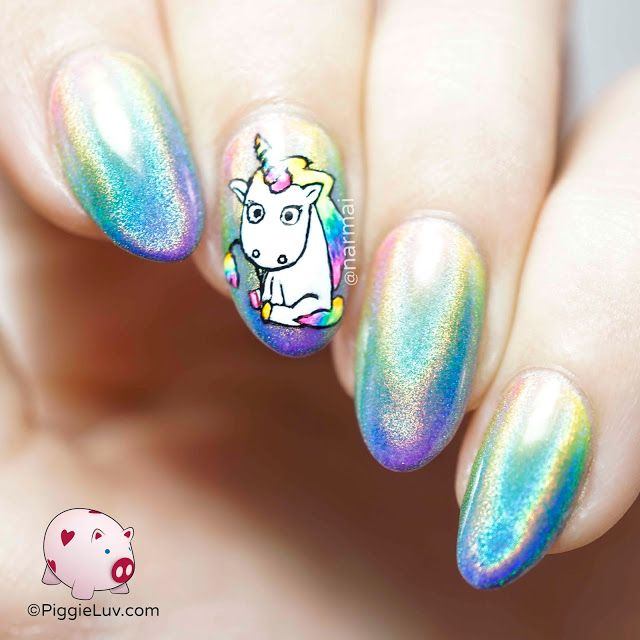 Piggieluv Rainbow Bubbles Nail Art: Holo Rainbow Unicorn Nail Art