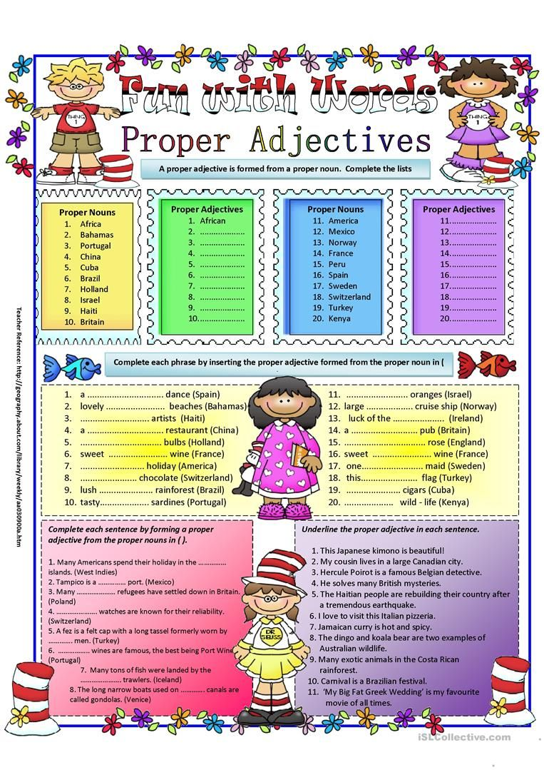 Proper Adjectives worksheet - Free ESL printable worksheets made by  teachers   Adjective worksheet [ 1079 x 763 Pixel ]