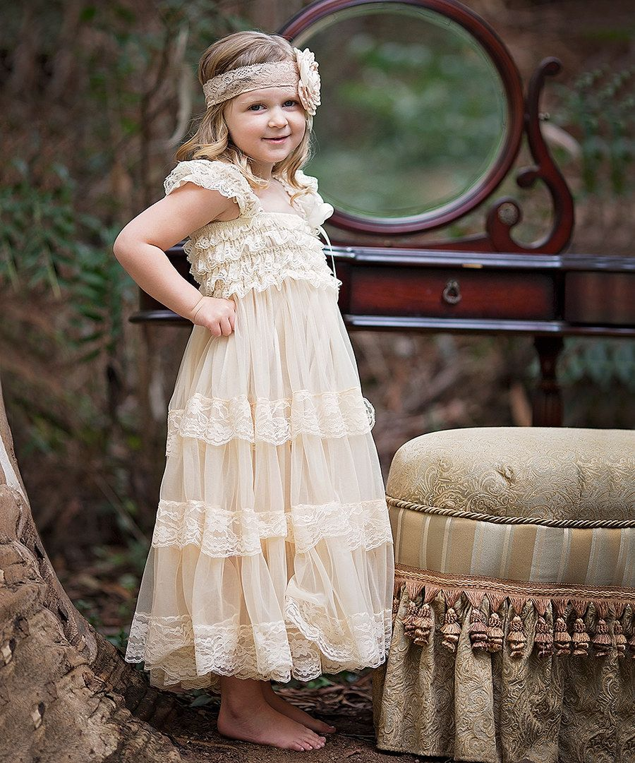 8d1e01125 Look at this Vintage Cream Chiffon   Lace Maxi Dress - Infant ...