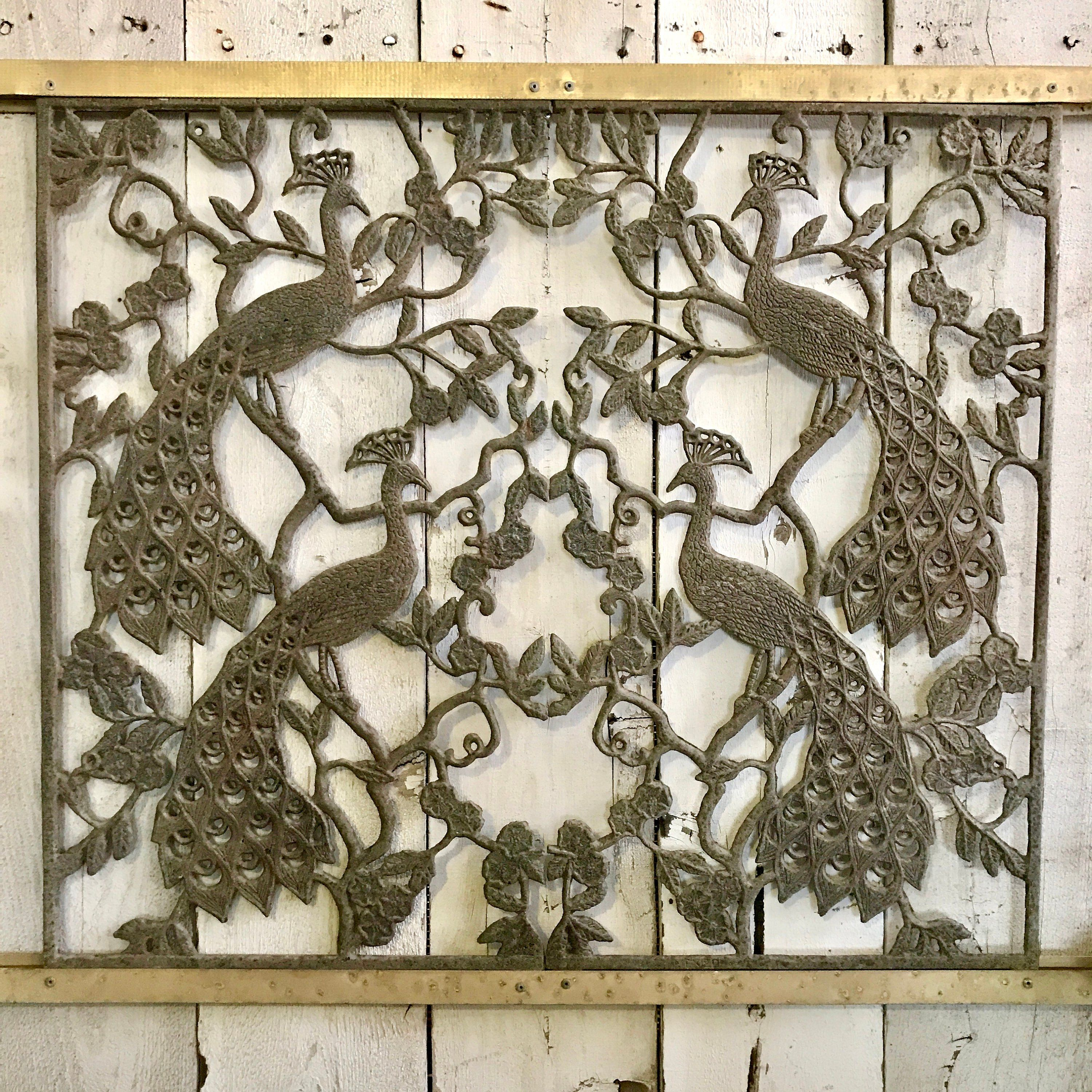Vintage peacock metal screen door salvage panel cast metal peacock