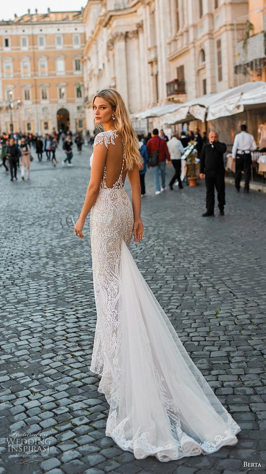 11fe9986e0bb Weddinginspirasi.com featuring - berta 2020 privee bridal cap sleeves  illusion bateau deep plunging sweetheart