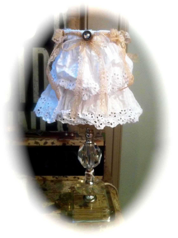 shabby chic lamp shades | chandelier lampshade lamp shade shabby chic white ruffle by AliLej
