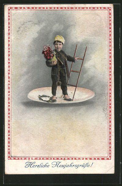 schöne AK kleiner Schornsteinfeger mit Leiter und Blumenkorb, Neujahr in Sammeln & Seltenes, Ansichtskarten, Motive | eBay