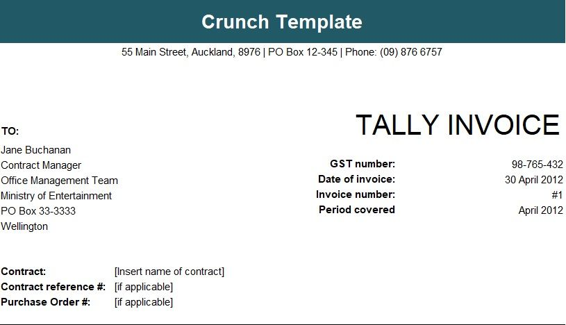 Tally Invoice Format In Excel Sheet Free Download  Invoice