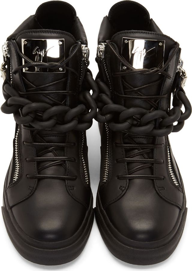 198f6646dd77 Giuseppe Zanotti - Black Matte Curb Chain High-Top Sneakers -  1