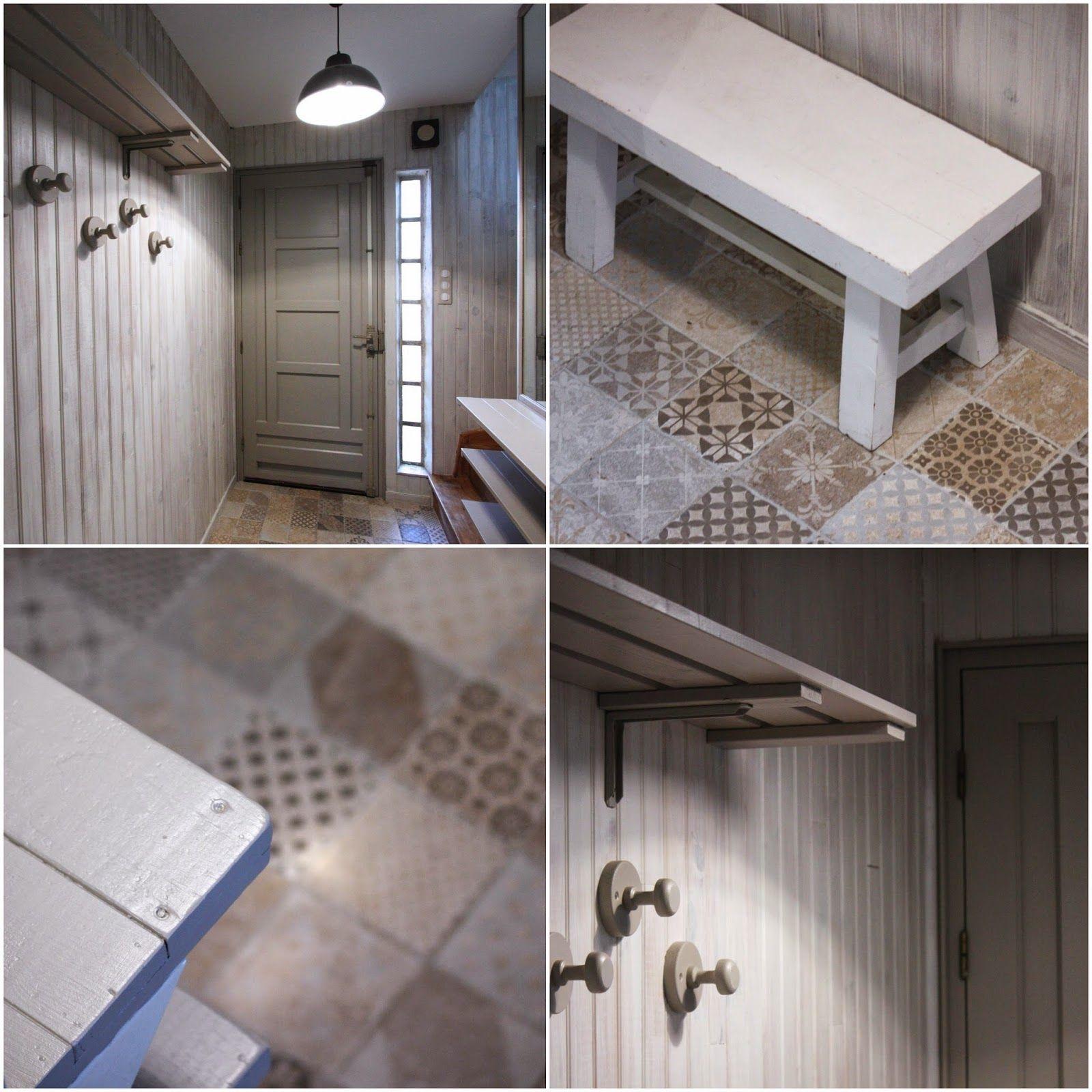 un nouveau regard avant apr s d 39 une entr e en lambris avec les peintures maison d co lambris. Black Bedroom Furniture Sets. Home Design Ideas