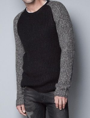 a91117b221 Zara Mens Raglan Sleeve Two Tone Knitted Sweater Black Grey M New ...