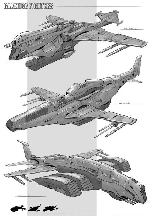 "boatsthatfly: "" Galatica fighter by Sean Jun """